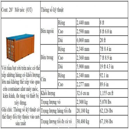 CONTAINER MỞ NÓC 20 FEET